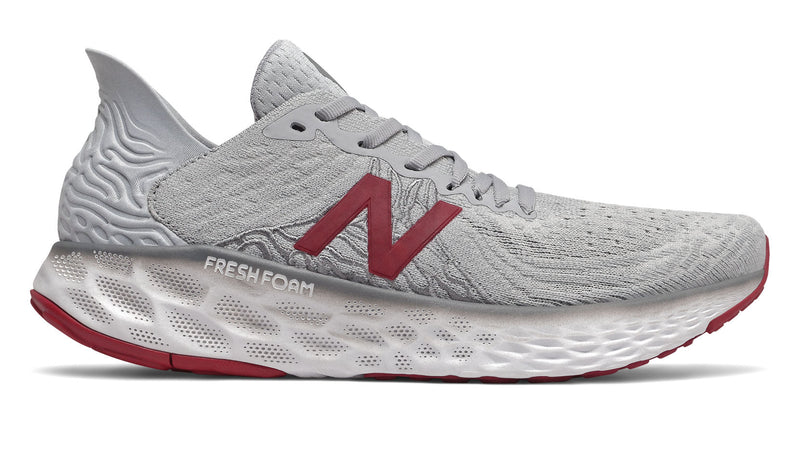 New Balance Men's Fresh Foam 1080v10 Lightweight Running Shoe Summer Fog/Neo Crimson/White Wide