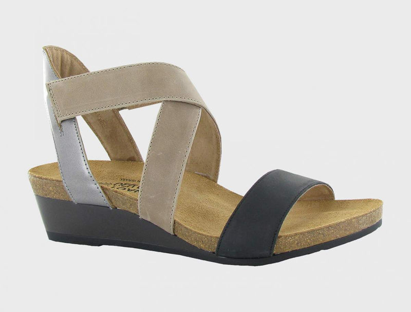 Naot Vixen Sandals Women's Oily Coal/Khaki Beige/Mirror