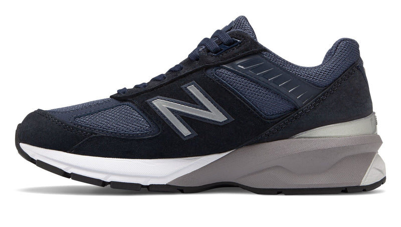 New Balance Women's Made in US 990v5 Navy/Silver Wide
