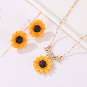 European and American fashion item sunflower necklace earrings set
