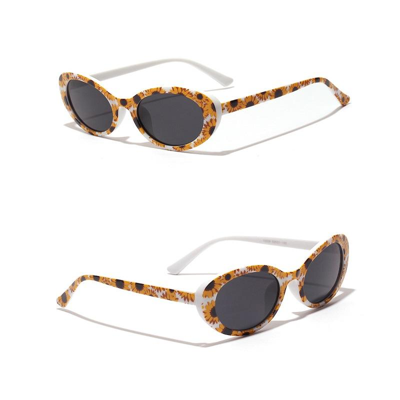 Flower Pattern Oval Sunglasses
