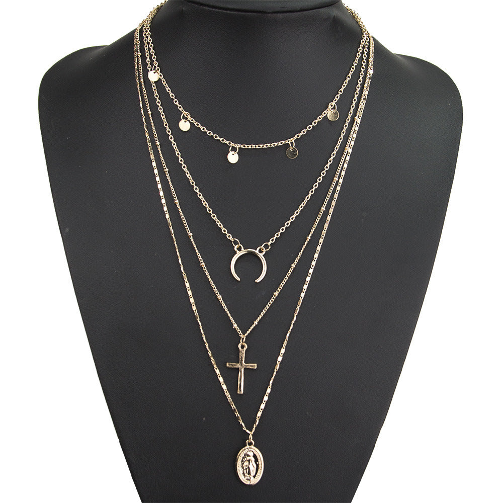 European and American fashion personality cross small round eclipse moon round Buddha statue four-layer necklace jewelry