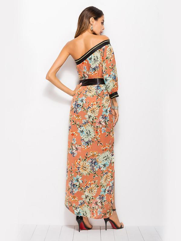 Bohemian One-shoulder Print Dress