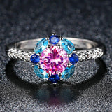 2019 New Flower Created Crystal Ring for Women in Rhodium Plated