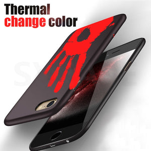 2017 New Temperature Sensing Change Color Phone Cover Case for iPhone 6 6s 7 Plus Matte PC Thermal Heat Induction phone case