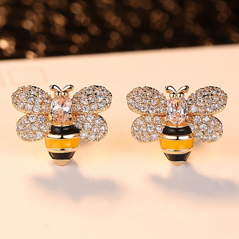2019 New Design Cute Animal Bee Wedding Stud Earrings for Women Gold Color Bijoux Femme Free Shipping