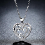 2019 New Fashion Silver / Rose Gold Color Heart Necklace AAA Cubic Zirconia Wedding/Party Jewelry Best Gifts for Valentine's Day
