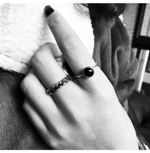 European and American fashion black agate open index finger ladies ring