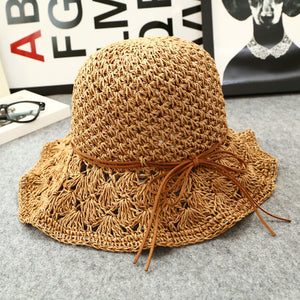 Women's rolled short short hollow beach sunhat