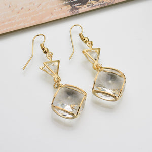 Fashion square crystal earrings