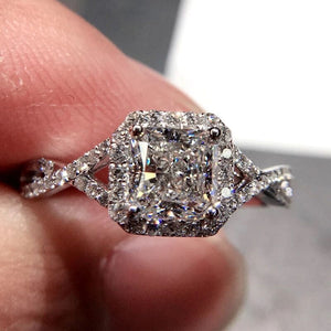 Cubic Zirconia Ring Princess Square Drill Twist Arm Micro-inlaid Zircon