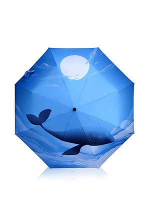 Sea Whale Pattern Folding Umbrella