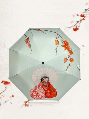 Ancient Girls'talk Pattern Folding Umbrella
