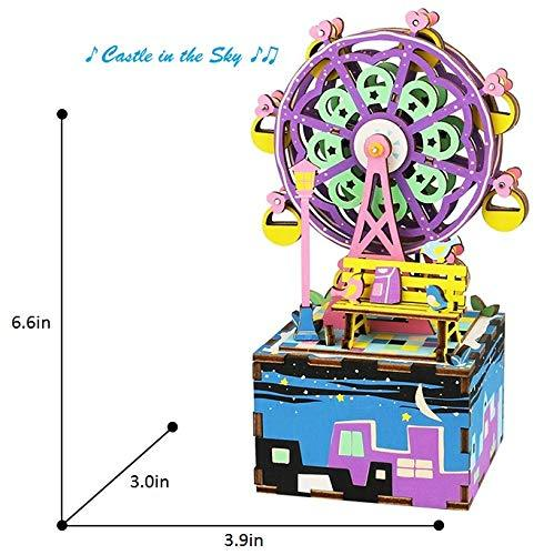 F&S DIY Craftable Music Box Set, Build Your Own 3D Wood Puzzle, Ferris Wheel, Plays Song - Castle In The Sky