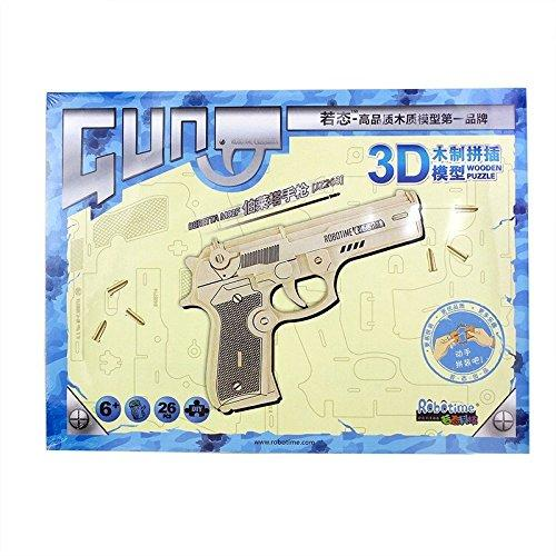 F&S 3D DIY Wooden Puzzles Bertta M92F JZ203 Gun Model Kits Diy Block Building Jigsaw Toy For Kid Christmas Gift