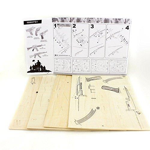 F&S 3D DIY Wooden Puzzles AK47 JZ404 Model Kits DIY Block Building Jigsaw Toy for Kid