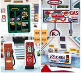 F&S Miniature Gas Station, Creative Wooden Model Building DIY Dollhouse Kit or Toys for Adults or Kids