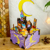 F&S Star Night Wooden 3D DIY Jigsaw Puzzle Model Toy Creative DIY Music Box Gift