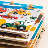 F&S Wooden Transportations Peg Puzzle Game Creative Toddler Knob Puzzle Toys Best Gifts for Toddler