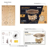 F&S 3D Puzzle Brain Teaser Games Wooden Laser-Cut Air Vehicle Kits Engineering Toys STEM Learning Kits Mechanical Gears Set