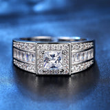Luxury Clear Square AAAA Cubic Zircon Ring White gold Plated