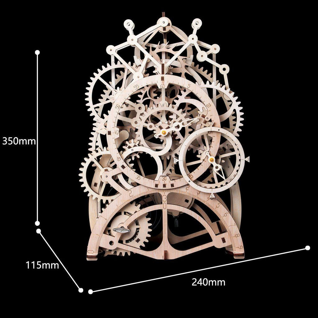 F&S 3D Assembly Puzzles Wooden Mechanical Gears Decor Laser-Cut Pendulum Clock Model Kit Best Engineering Toys for Teens