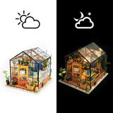 F&S DIY Dollhouse Wooden Miniature Furniture Kit Mini Green House with LED Best Birthday Gifts for Women and Girls