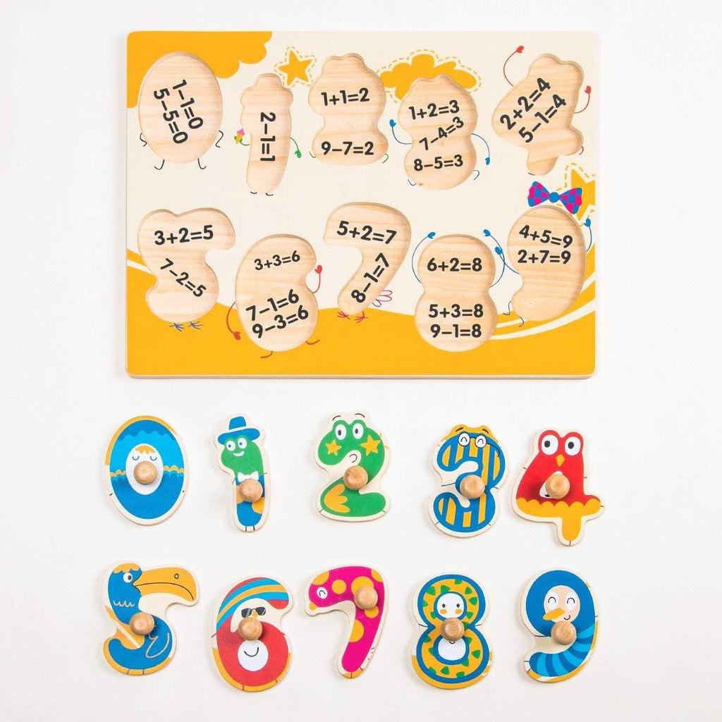 F&S Colorful Wooden Number Peg Puzzle Smooth Easy-Grab Peg Puzzle Game Valentines Day Gifts for Toddlers 1 2 3 Years
