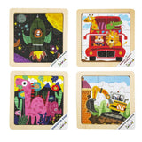 F&S Wooden Jigsaw Puzzle Set with Storage Tray - 4 Sets Baby Puzzle - Learning Preschool Toys for Toddlers Age 1 2 3 (Roket, Animal's Journey, Dinosaur Baby, Powerful Excavator)