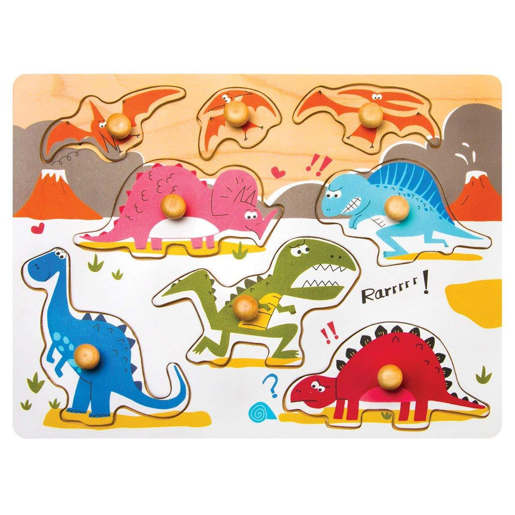 F&S Wooden Dinosaur World Peg Puzzle Easy-Hold Puzzle Game Baby & Toddler Toys for 1 2 3 Years(8pc)