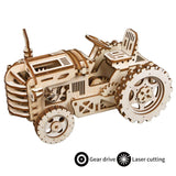 F&S Wooden Mechanical Gears Kits 3D Puzzle Brain Teaser Executive Desk Toys Best Birthday Gifts for Teens & Adults(Tractor)