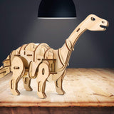 F&S 3D Wooden Dinosaur Puzzle Remote Control Toys Laser-Cut Robot Children Building Toys Cool Engineer Kit Apatosaurus