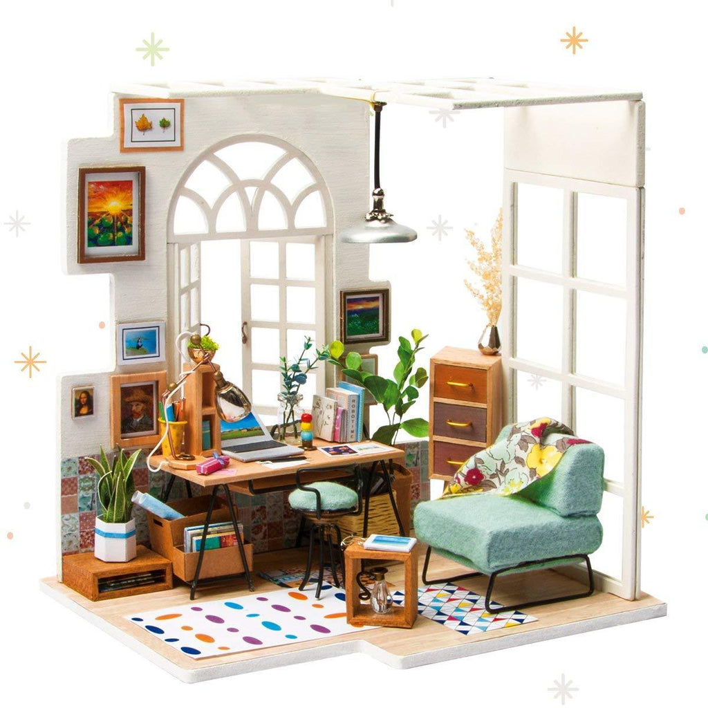 F&S Miniature Dollhouse Kit Decorations with Lights and Furnitures DIY House Craft Kits Best Birthdays Gifts for Boys and Girls (SOHO TIME)