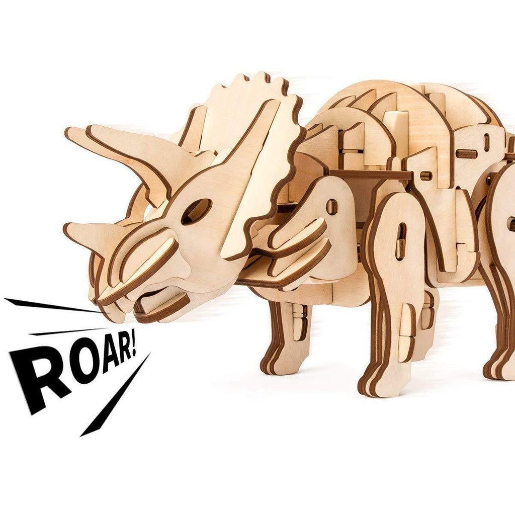 F&S Dinosaur Building Toys 3D Grown-Up Puzzles Laser-Cut Wood Craft Kits 3 Control Approaches Robot Triceratops Toys for Kids Age 7 8 9 10 11