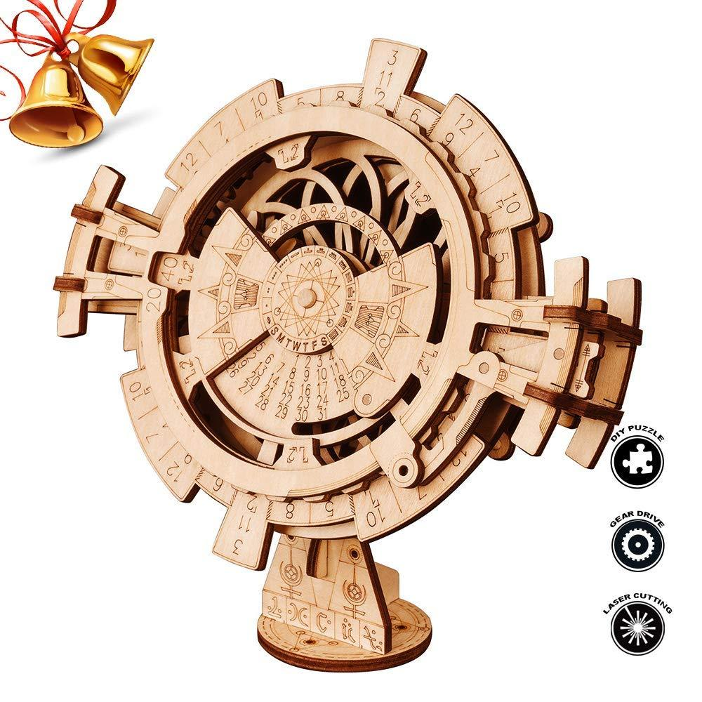 F&S 3D Wooden Mechanical Puzzle DIY Perpetual Calendar Craft Kits Laser-Cut Model Kit to Build for Adults Great Birthday for Women and Men
