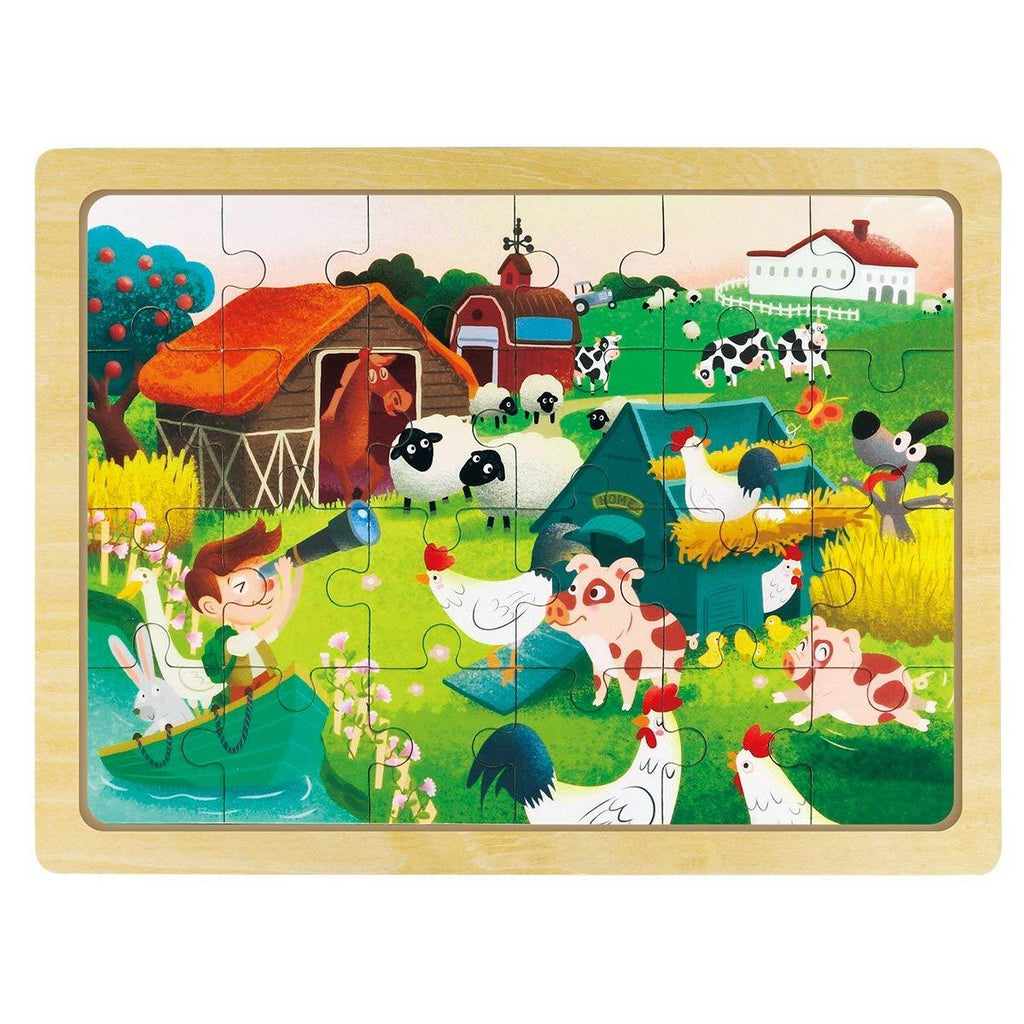 F&S Wooden Happy Ranch Jigsaw Puzzle with Storage Tray Grow-Up Puzzle Educationl Toy (24pcs)