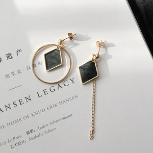 European and American irregular geometric circle diamond hollow earrings