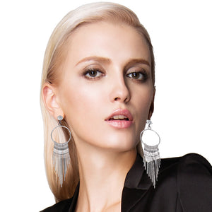 European and American fashion exaggerated fringed diamond earrings