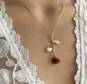 European and American new creative drop delicate red rose pendant necklace