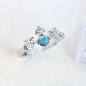 Simple Natural Sapphire Queen Crown Live Ring
