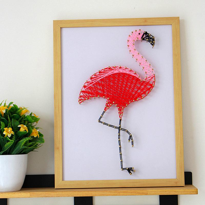 DIY Flamingo String Art Painting