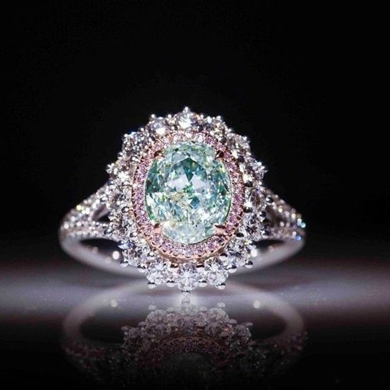 8Seasons Luxurious Rings Shiny Transparent Light Green Pink Crystal Silver Romantic Jewelry For Women Accessories Gift ,1 Piece
