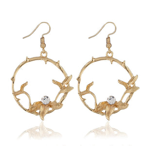 European and American fashion leaf temperament earrings