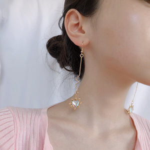 Fashion long wave irregular peach heart earrings