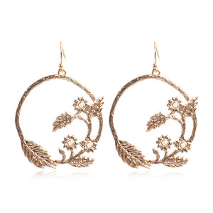 Fashion creative circle branches leaf pattern earrings