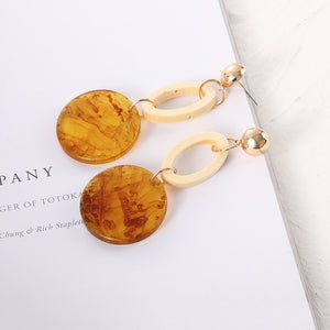 European and American fashion cool wind geometric circle acrylic earrings
