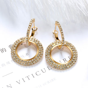 European and American fashion creative long rhinestone earrings ring