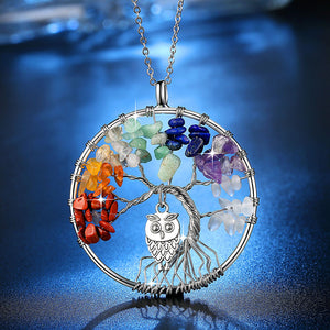 100% Handmake Multi-color Natural Stones and Minerals Life Tree and Cute Owl Necklace Women's Fashion Wedding Jewelry