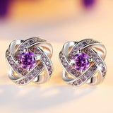 2 Colors Fashion CZ Stud Earrings for Women Best Wedding Gifts Rhodium Plated Clover Jewelry 2018 New