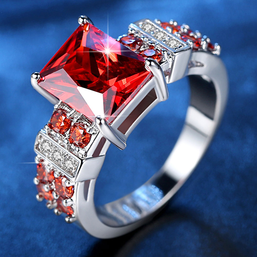 2 Colors Princess Cut Zircon Rings for Women in Rhodium Plated Ladies Party Jewelry